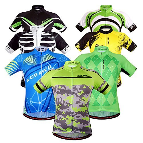 WOSAWE Mens Breathable Cycling Jersey (Green Knights, XXL)