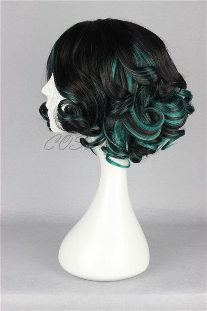 Amazon.com: COSPLAZA Short Curly Lolita Black Blue Anime Cosplay Wigs Christmas Party Hair: Health & Personal Care