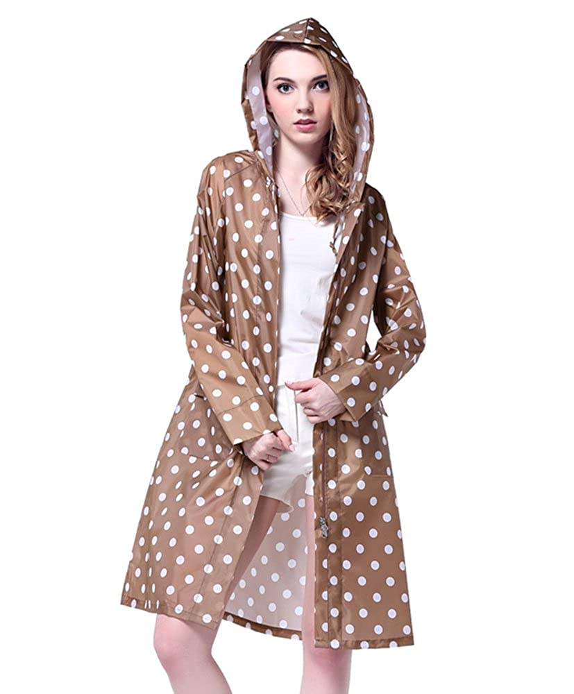 Lanbaosi Women's Portable Long Raincoat Poncho Hooded Rain Jacket With Pockets SL287-Khaki-Free Size