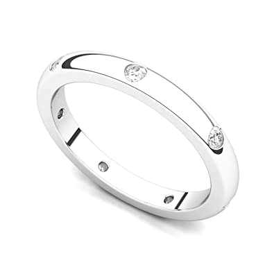 Amazon.com: Platinum Bezel set Diamond Semi Eternity Wedding Band ...