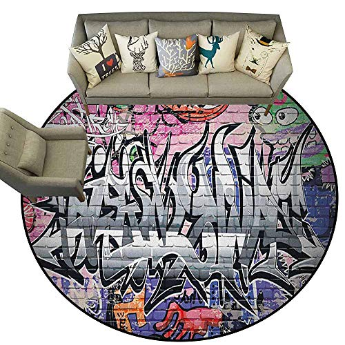 Easy Clean Rug,Brick Wall,Graffiti Grunge Art Wall Several Creepy Underground City Urban Landscape Print, Multicolor,Round Entryway Rug Floor Mats Welcome Mat Living Room Rug4 feet