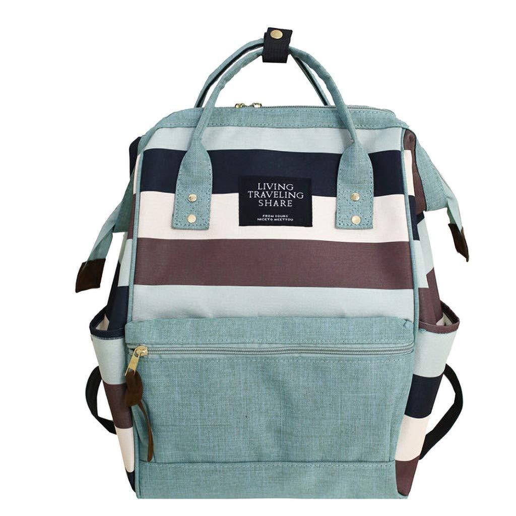 Aliturtle Canvas Backpack Large-Capacity Clip Stripe Contrast Color Backpack College Vintage Travel Bag for Women Girls & Men Boys (Green, S) by Aliturtle