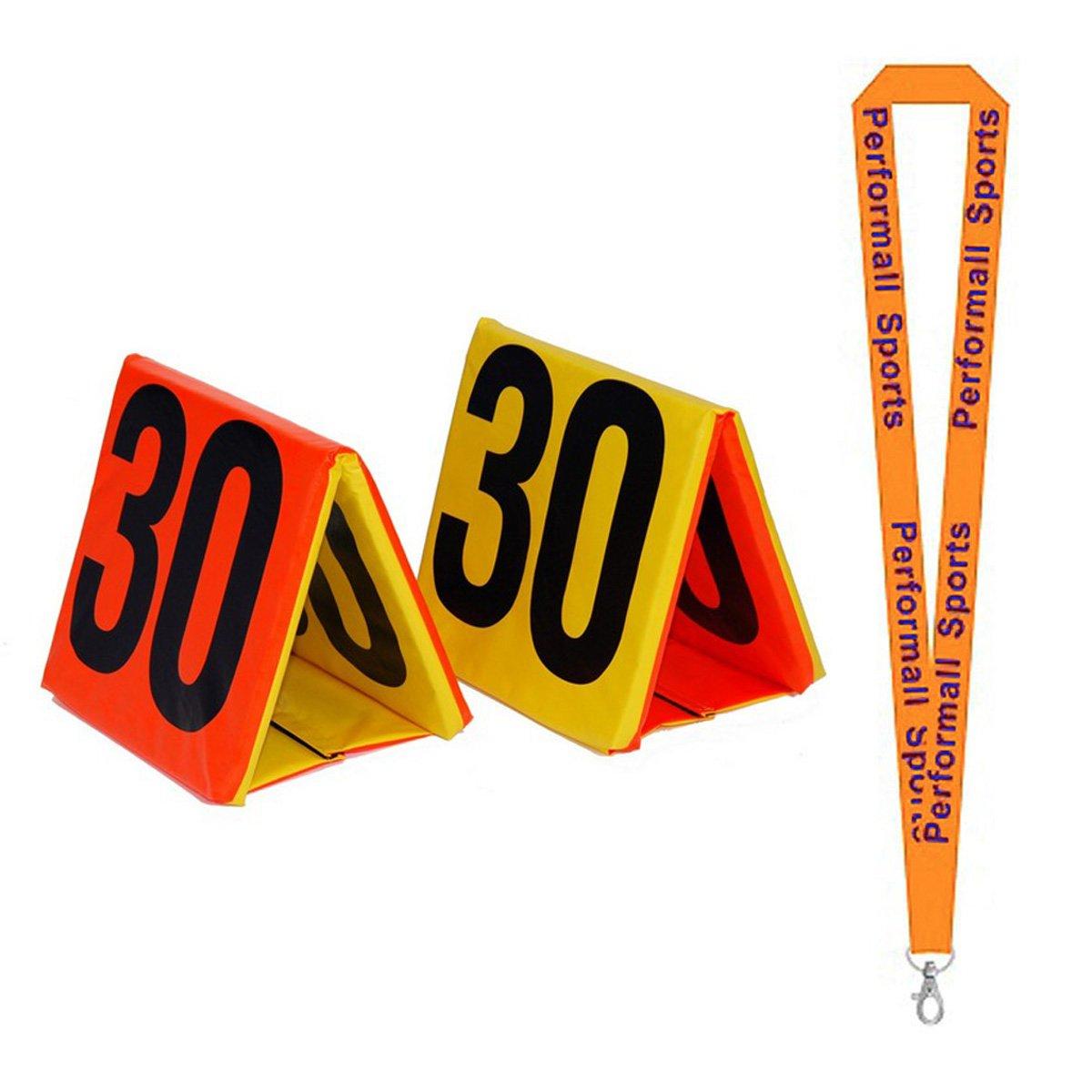 Champion Sports Day-Night Sideline Marker Set Yellow/Orange/Black (Set of 11) with 1 Performall Lanyard SLMSET-1P