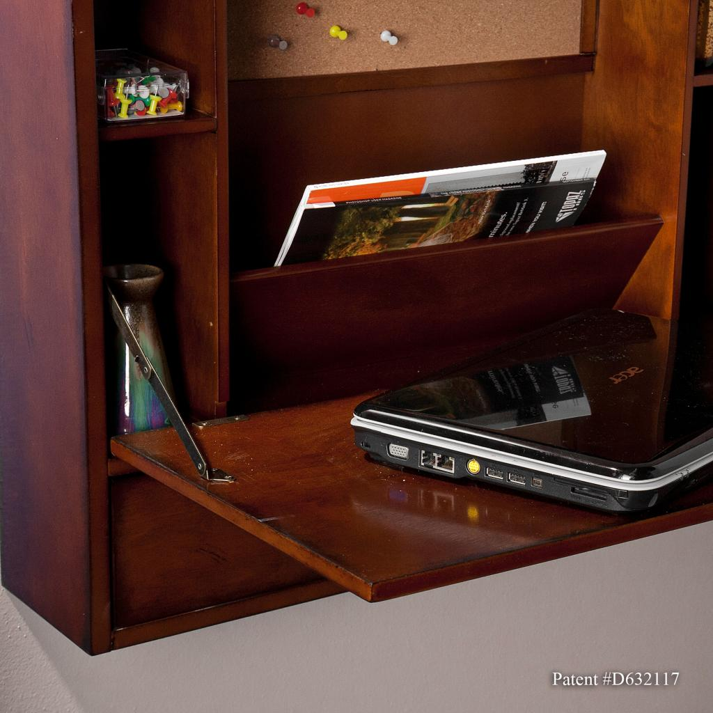 sei wall mount laptop desk brown mahogany. Black Bedroom Furniture Sets. Home Design Ideas
