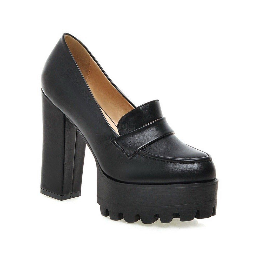 BalaMasa Ladies Platform Thread Chunky Heels Black Microfiber Pumps-Shoes - 6.5 B(M) US
