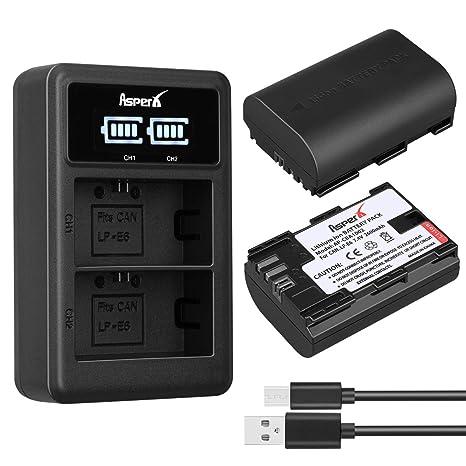 Cargador de batería para cámara LP-E6 con Dos baterías LP-E6 ...