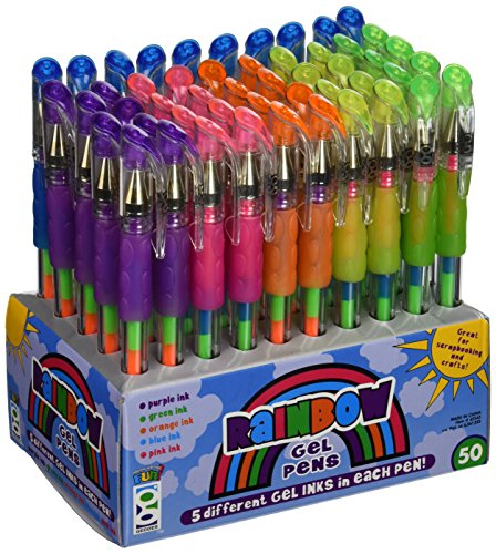 Geddes Rainbow Gel Pens Assortment - Set of 50 (Rainbow Gel Ink)