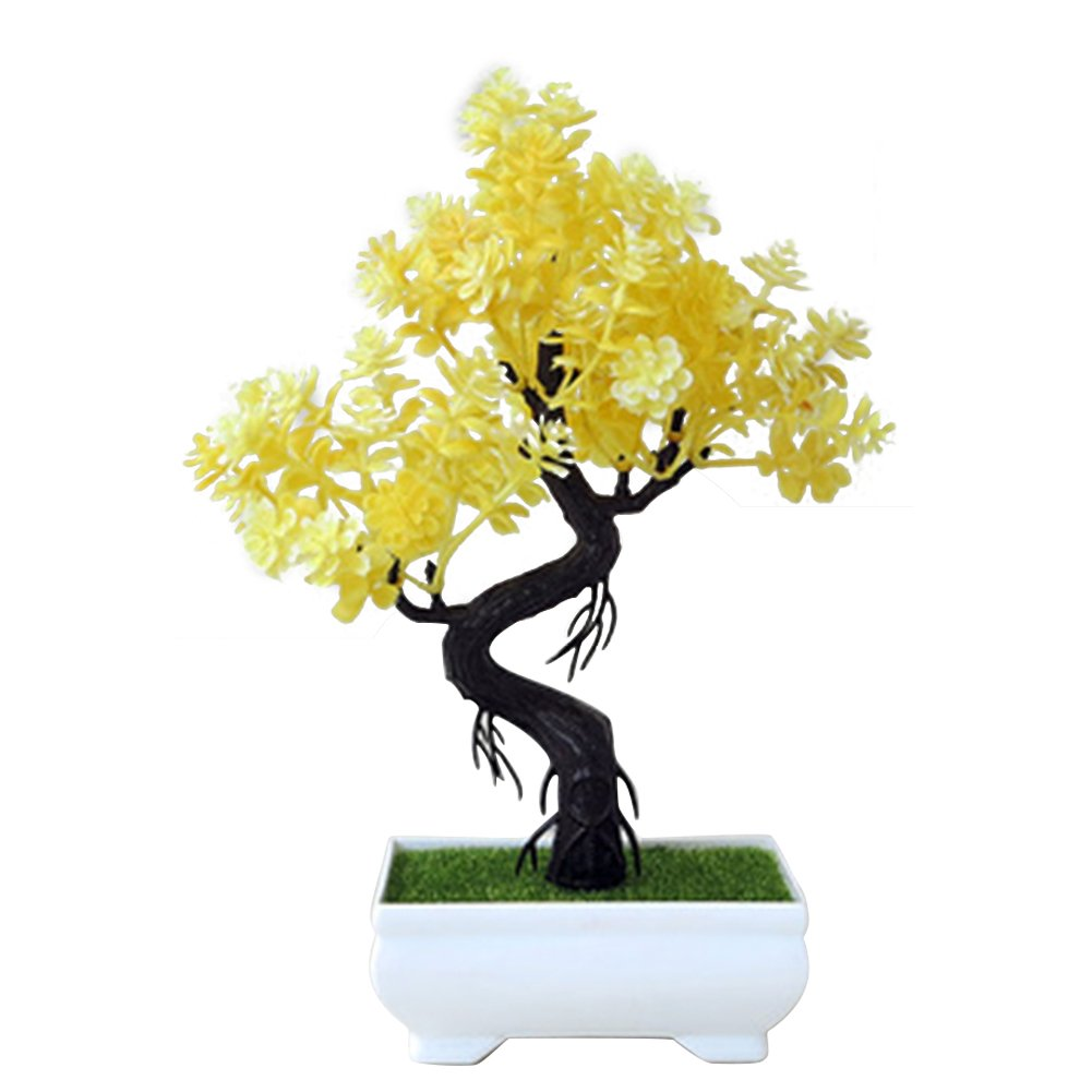 Whthteey Bonsai Tree Decorative Artificial Plant Faux Potted Plant Office Home Decor (Yellow)
