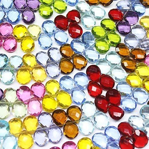 18 pcs of Sea Green quartz glass faceted briolette bead 9x11mm