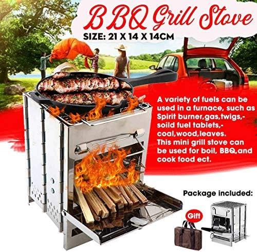 PORIN Barbecue Portable en Acier Inoxydable Pliable Résistance aux Hautes températures Hauteur réglable Mini Grill pour la randonnée en Plein air