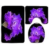 Bath Mat Sets Purple Iris On Black Deborah Harrison Contour Rug U-Shaped Toilet Lid Cover,Non Slip,Machine Washable,3-Piece Rug Set Easier to Dry for Bathroom
