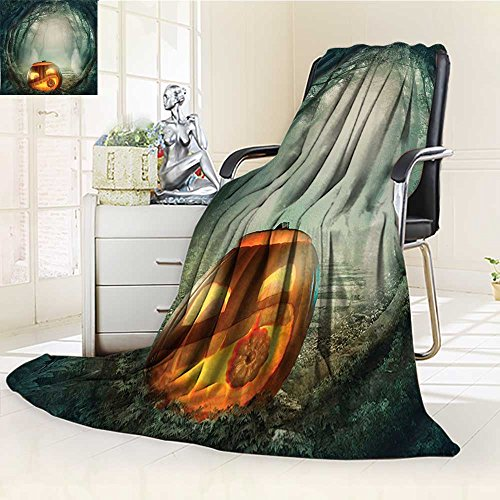 YOYI-HOME Fleece Duplex Printed Blanket 300 GSM Anti-Static Super Soft Scary Halloween Pumpkin in Enchanted Forest Mystic Twilight Party Themed Orange Teal Bed Blanket Couch Blanket /W47 x H79 ()