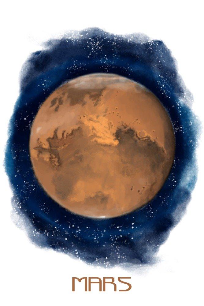 Mars – 水彩 36 x 54 Giclee Print LANT-83925-36x54 B077V1F522  36 x 54 Giclee Print