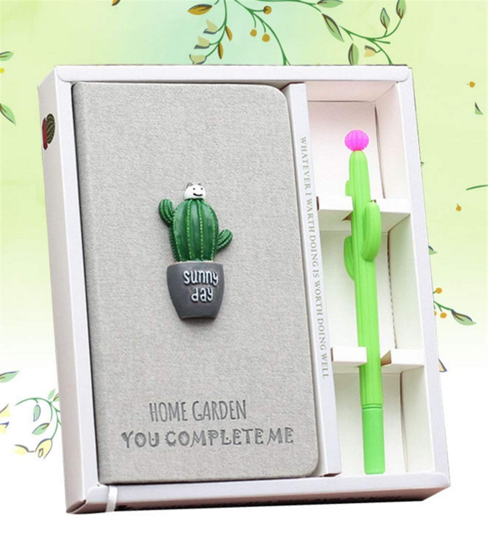 Zhahender Best for Student 2 Pcs Creative Cactus Portable Mini Nootbook Pen Set(White Bear Prickly Pear) by Zhahender