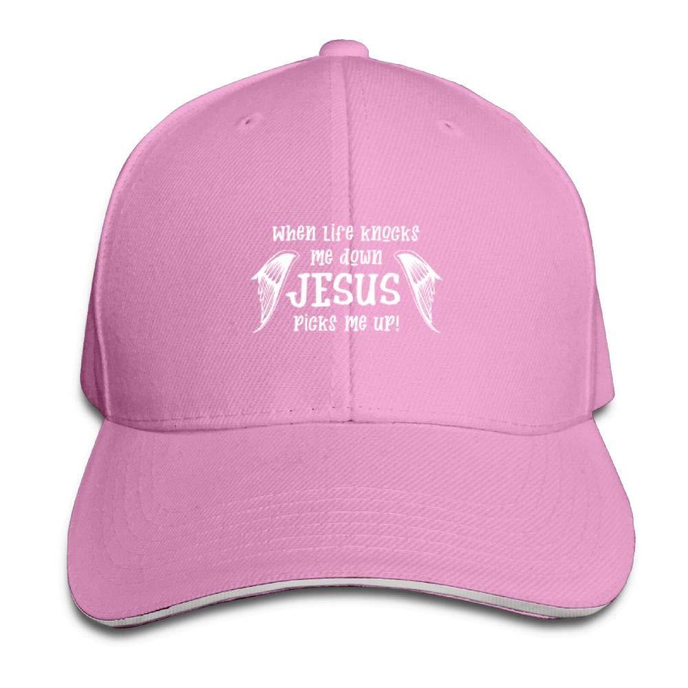 BUSEOTR Jesus Picks Me up Baseball Caps Adjustable Back Strap Flat Hat