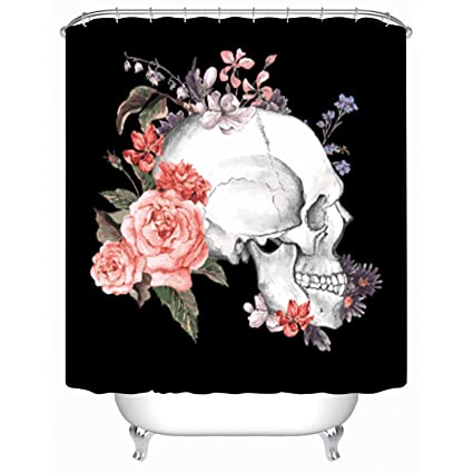 Cheerhunting Skull Shower Curtain Black White Flower Rose Bathroom Accessories Hooks