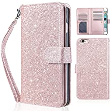 iPhone 6 Plus Case, iPhone 6S Plus Case,UARMOR Premium Glitter Shiny PU Leather Magnetic Credit Card Slot Holder Wallet Case Cover for iPhone 6 Plus / iPhone 6S Plus 5.5 Inch Rose Gold
