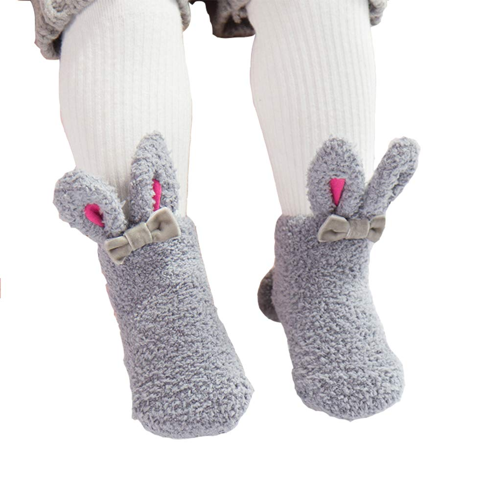 dkDaKanl Baby Girls Warm Thick Socks with Rabbit Ear Unisex Newborn Toddler Socks Anti Slip