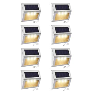 Solar Step Lights with Larger Battery Capacity JACKYLED 8-Pack Stainless Steel 3 LED Solar Powered Deck Lights Weatherproof 3000K Warm Light Outdoor Lighting for Steps Stairs Paths Patio Decks