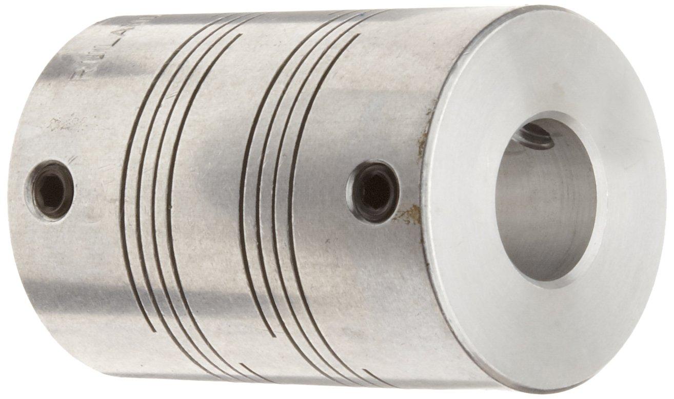 Ruland PSMR16-5-4-A Set Screw Beam Coupling, Polished Aluminum, Metric, 5mm Bore A Diameter, 4mm Bore B Diameter, 15.9mm OD, 20.3mm Length, 1.36 Nm Nominal Torque