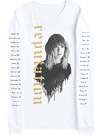 Taylor Swift Reputation Stadium Tour Tee White Long Sleeve Tour Tee with Reputation in Gold