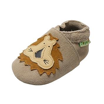 Sayoyo Chaussures de bébé enfant Chaussons en cuir souple chaussures semelle  douce Avec Lion (Kaki