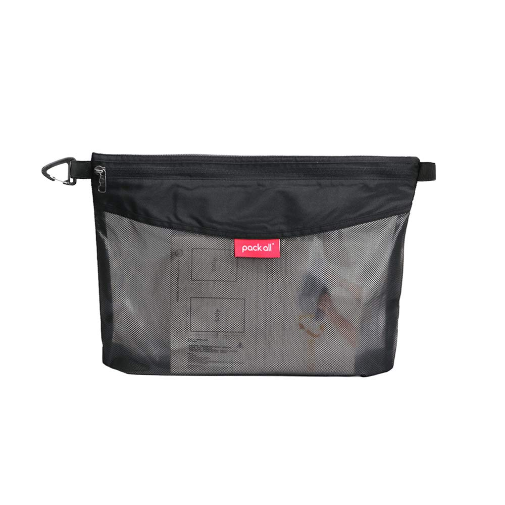 pack all All-Purpose Waterproof Material Travel Packing Pouches Storage Packing Bag with Zipper for Travel, Office, School, Arts, Outdoor (Black Large