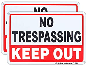 Metal Keep Out Signs No Trespassing Sign for Yard 10x14 Inch Rust Free Aluminum,UV Ink Printing,Indoor or Outdoor Use (2 Pack)