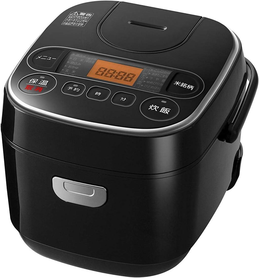【Amazon限定ブランド】Smart Basic アイリスオーヤマ 炊飯器 マイコン式 3合 極厚銅釜 銘柄炊き分け機能付き ブラック Smart Basic RC-MA30AZ-B NL-BB05AM-TM
