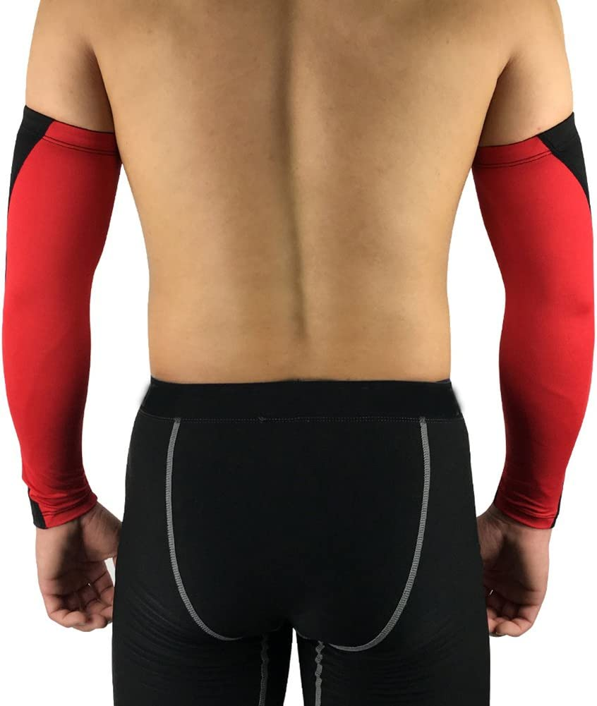 Bornbayb 1 Paire Absorption de Lhumidit/é Compression Bras Manches Sport Bras Manches pour Basketball Football Baseball Cyclisme Ect