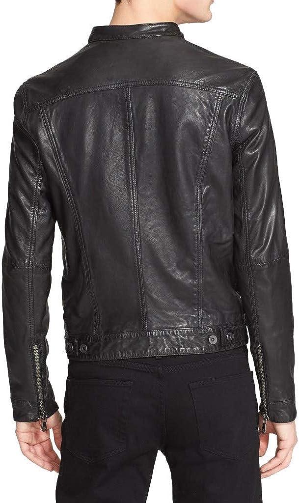 Woojo Mens Real Genuine Lambskin Leather Black Jacket WJ105