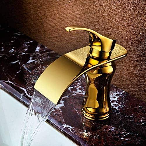 ZT-TTHG 水タップ蛇口シンクヨーロッパソリッドブラスゴールド仕上げの浴室のシンクの滝の蛇口ゴールデン盆地温水と冷水のミキサータップ蛇口