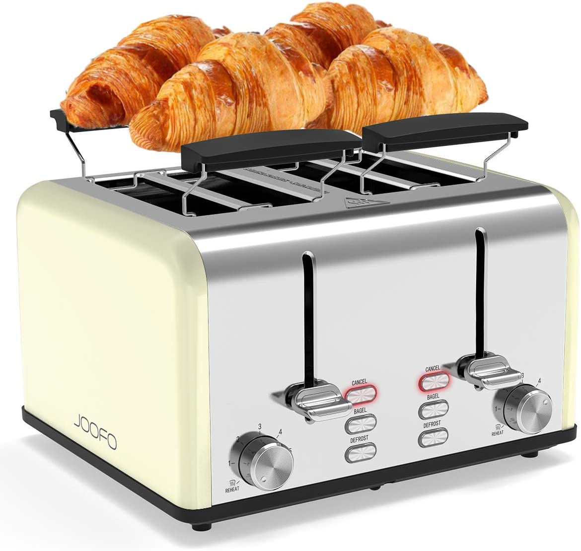 JOOFO Toaster 4 Slice, 6 Shade Settings Extra-Wide Slot Stainless Steel Toaster with Bagel, Cancel,Defrost,Reheat Function with Dual Control Panels, Removable Crumb Tray for Various Bread Types, Beige