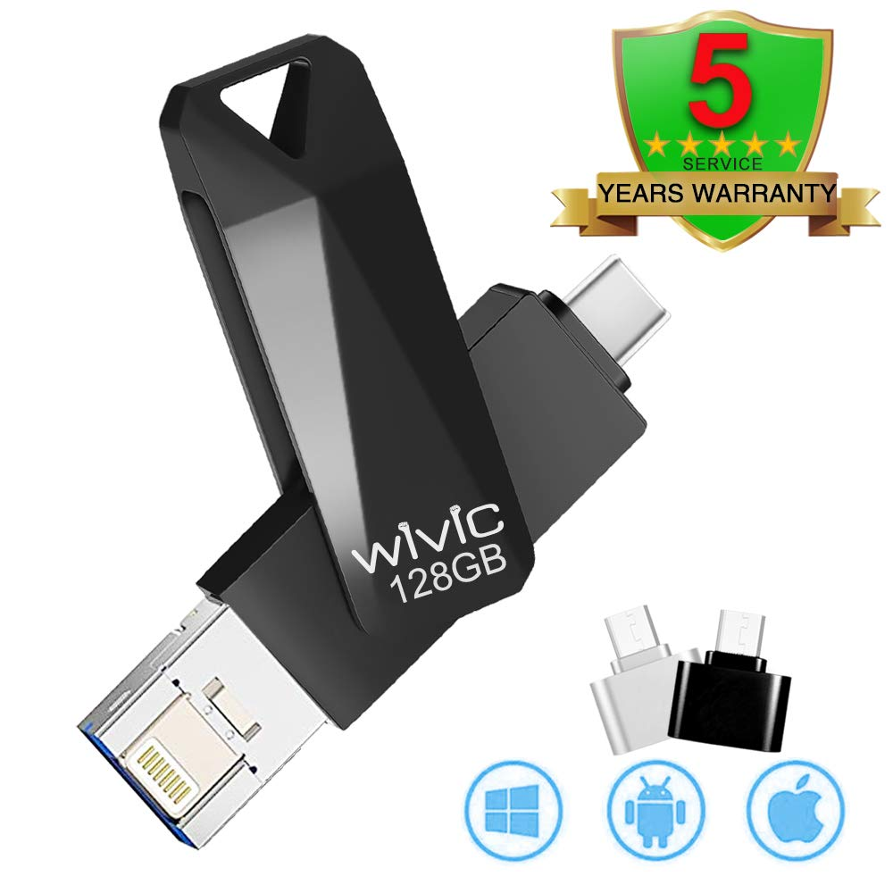 USB Flash Drive Photo Stick for iPhone Flash Drive for iPhone PhotoStick Mobile for iPhone iOS Flash Drive Android Type C Backup OTG Smart Phone Memory Stick Storage iPAD USB 3.0 WIVIC 128GB Black