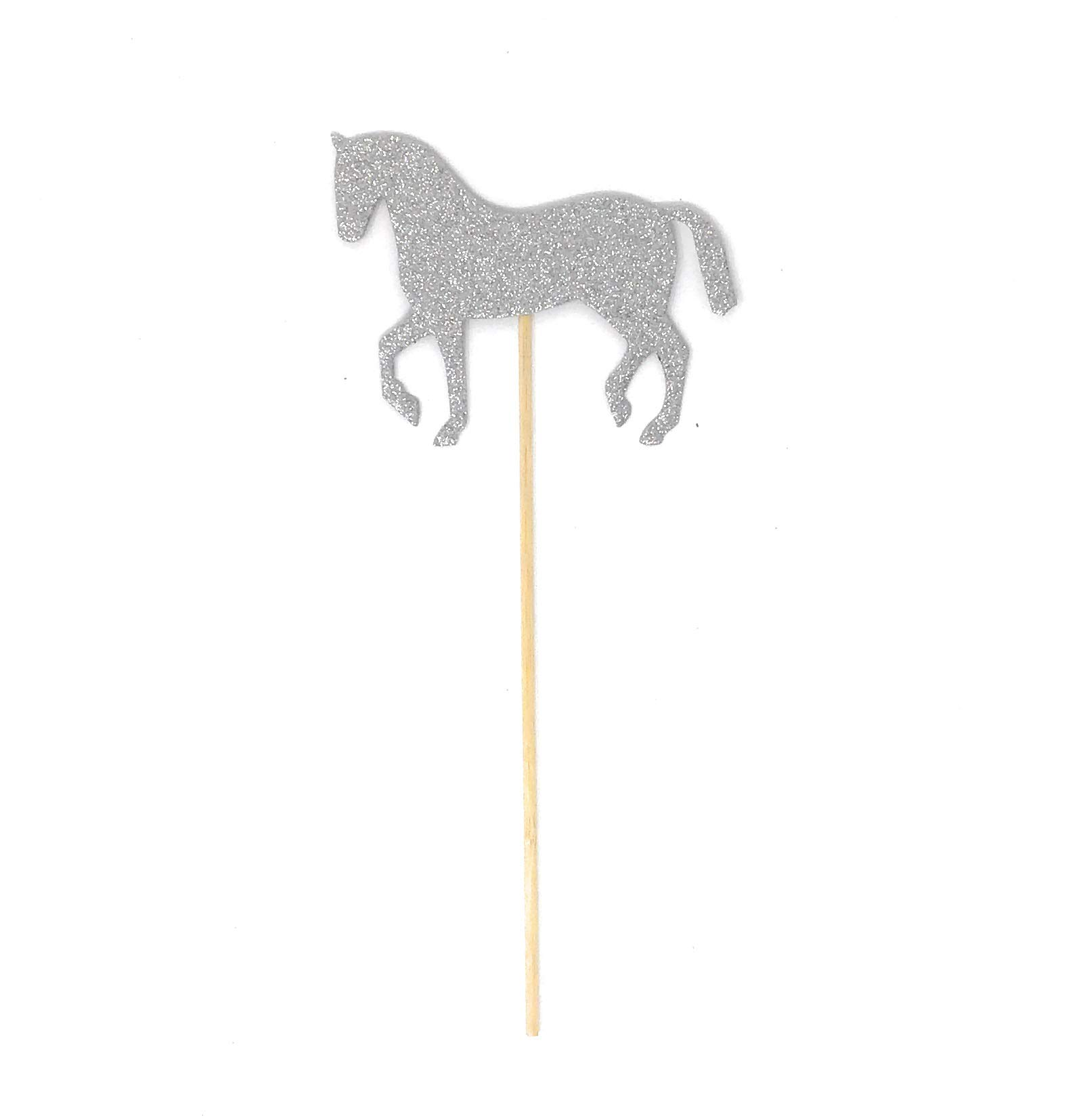 PaperGala Horse Double Sided Centerpiece Sticks Set of 8 Real Glitter (Silver)