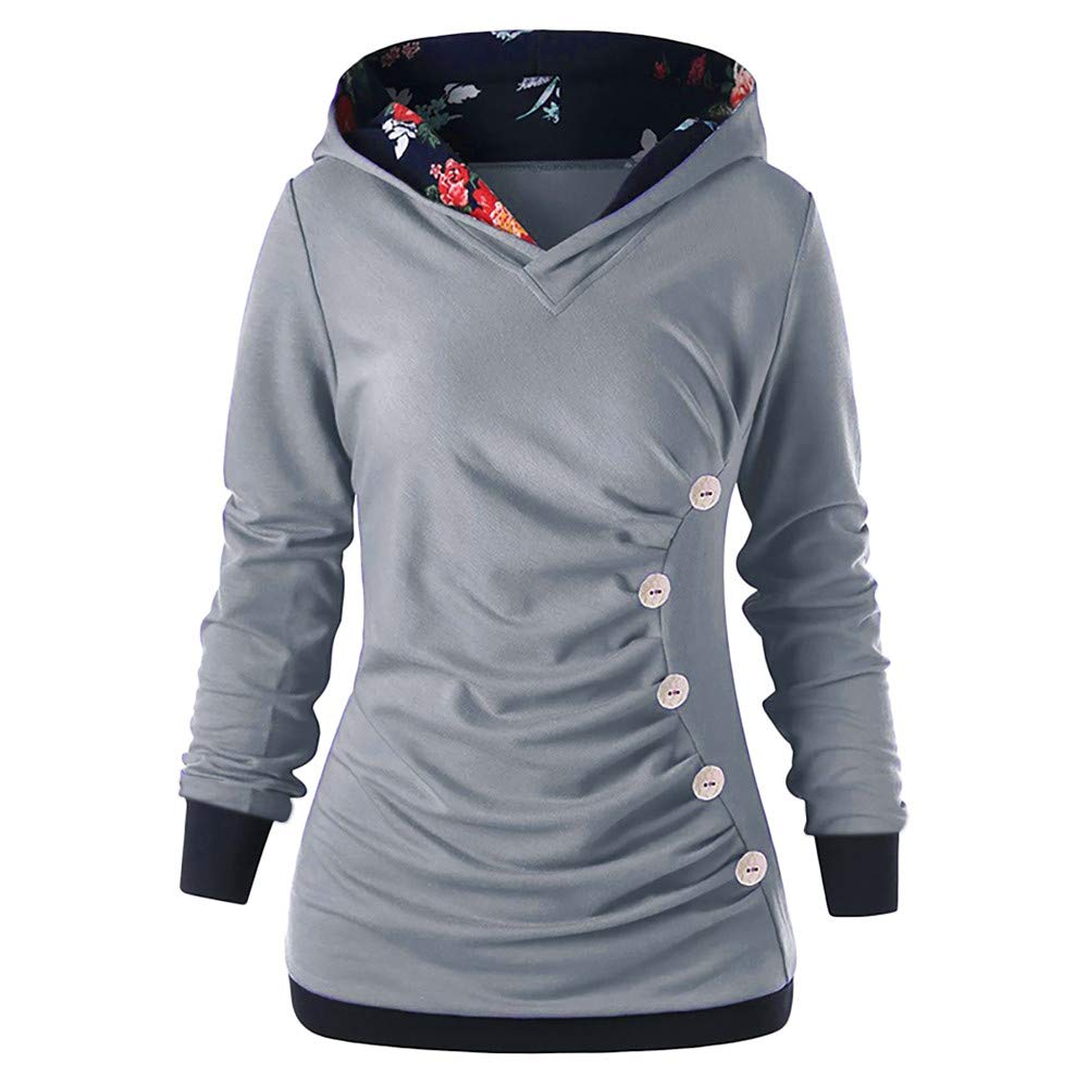 YANG-YI Autumn Women Long Sleeve Hoodies with Button Printed Hoodies Sweatshirt