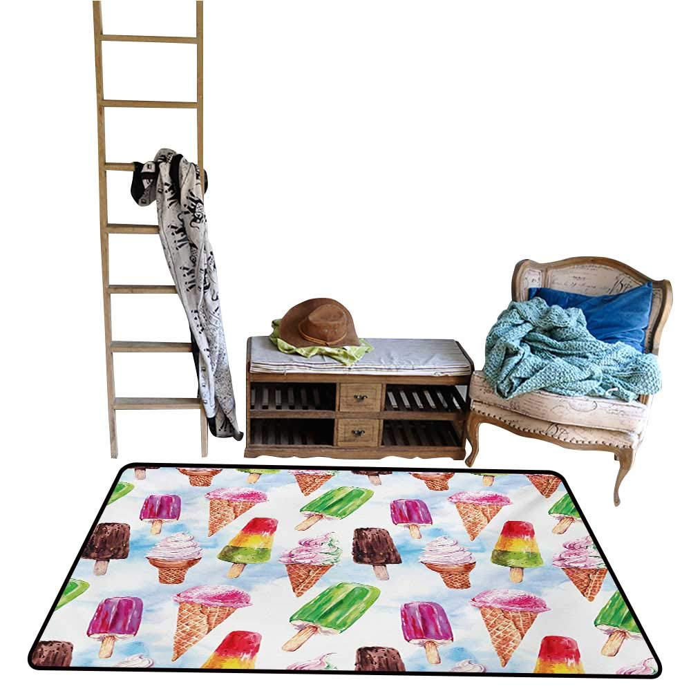 Non-Slip Floor mat,Surreal Exotic Type Ice Cream Motif with Raspberry Kiwi Flavor Colorful Display 4'x6',Can be Used for Floor Decoration