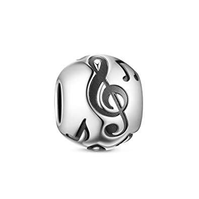 TINYSAND 925 Sterling Silver Musical Note Round Charm Bead Fit Europe Charm Bracelet EMhQUF
