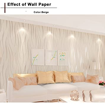 . Oanon 3D beige Non Stick Wallpaper Non woven Wallpaper Roll  Luxury
