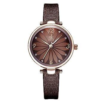 Amazon.com: SHENGKE Fashion Women Watches Brown Leather Band ...