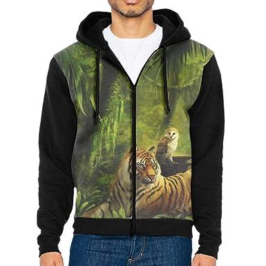 0e12331f2436 Amazon.com  FLIIP Man Hoodie Long Sleeve Animal Tiger Cats Owl Hoodie  Hooded Sweatshirt Top Tee Shirt Outerwear Blouse Pullover  Clothing