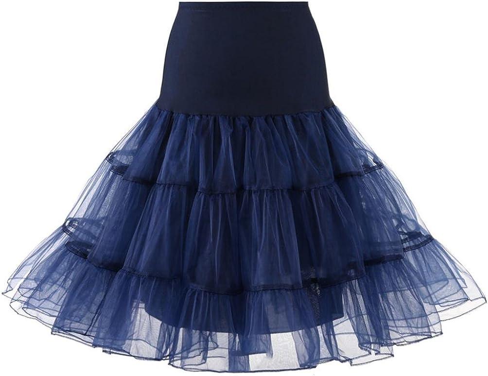 Tenworld Womens 50s Rockabilly Petticoat Skirts Tutu Crinoline Underskirt