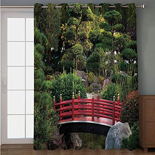 Carlo Balloon Monte - iPrint Blackout Patio Door Curtain,Apartment Decor,Tiny Bridge Over Pond Japanese Garden Monte Carlo Monaco Along with Trees and Plants Decorative,for Sliding & Patio Doors, 102