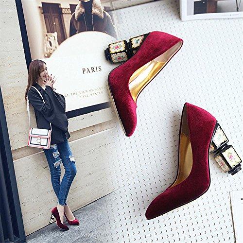 Mujer Zapatillas Resbalón En Corte Zapatos Ante Fornido Alto Tacón Puntiagudo Dedo del pie rojo Trabajo , Wine Red , EUR 37/ UK 4.5-5