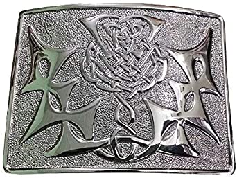 NUEVO Hombre Escocés Highland SILBATO Kilt Cinturón Cromo Hebilla ...