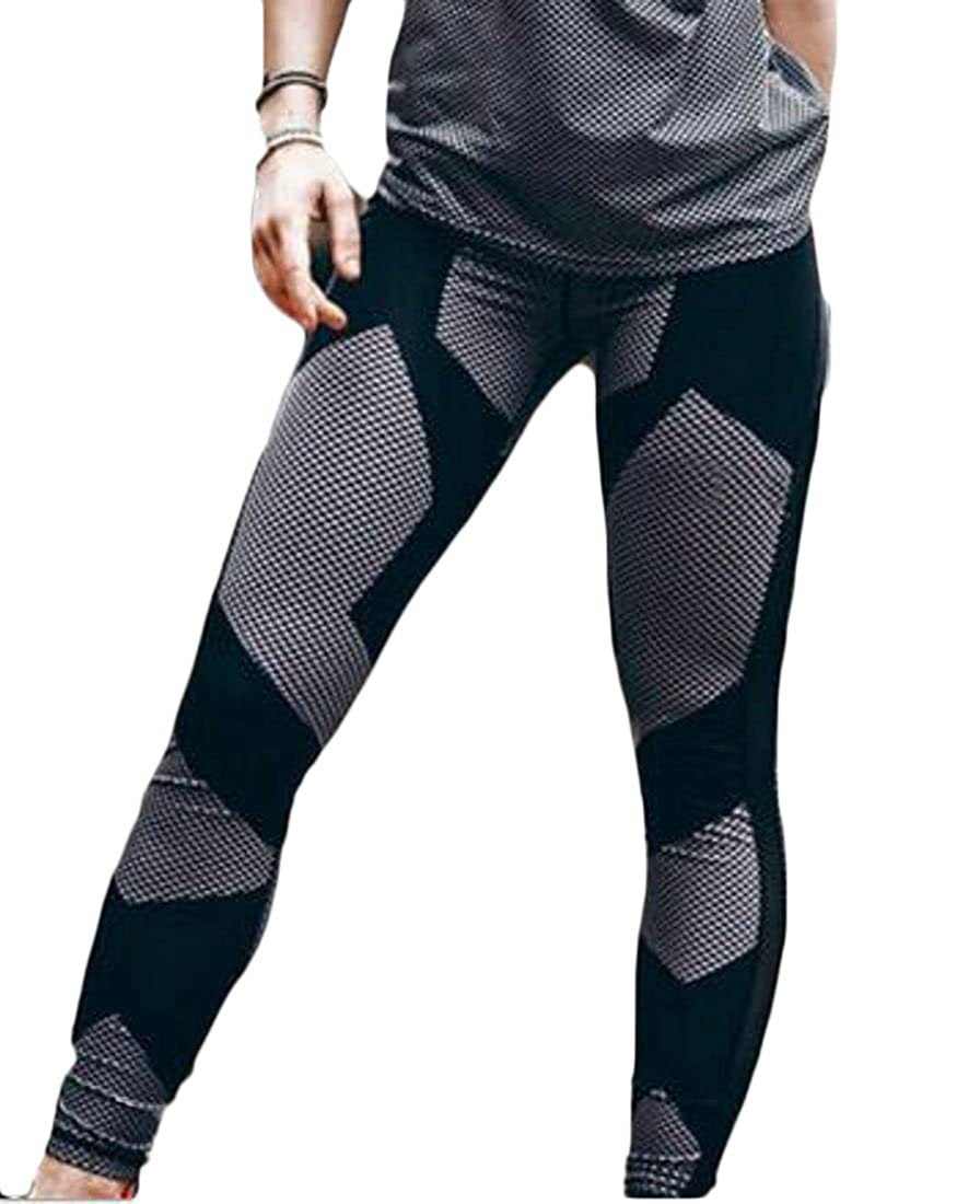 Cromoncent Womens Print Contrast Pants Stretchy Fitness Breathable Sports Slim Fit Legging