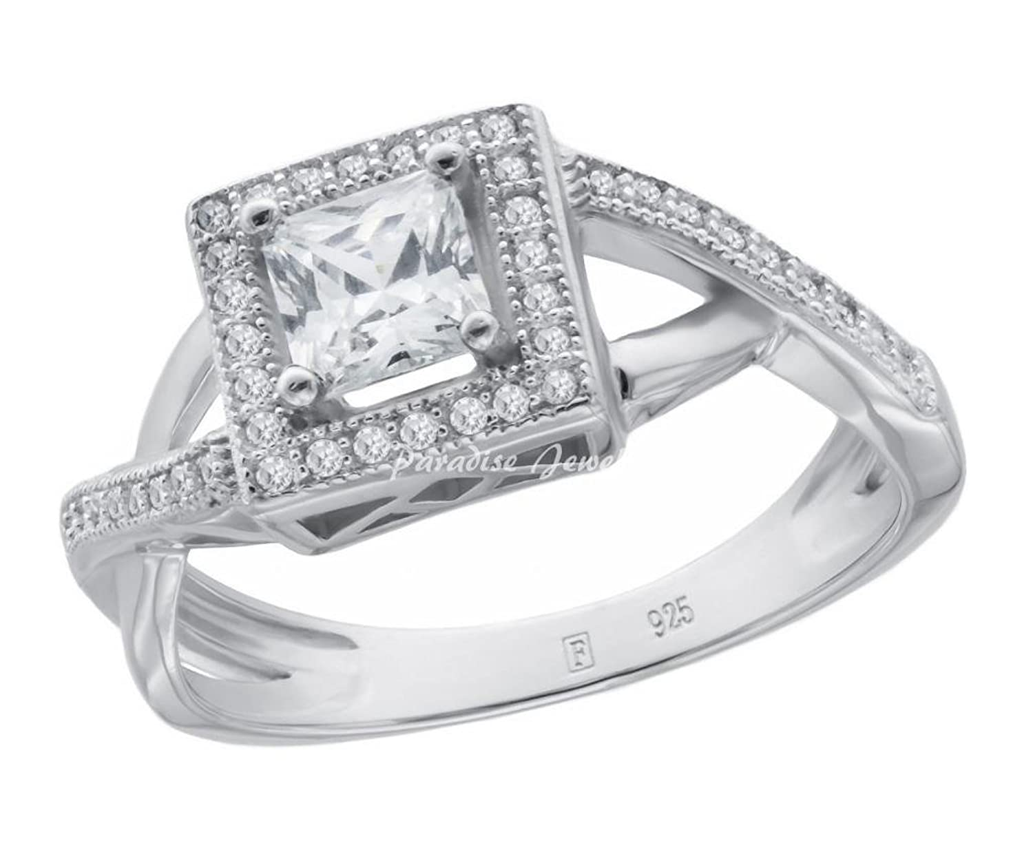 Ladies 1.00CTW Princess CZ Halo 14K White Gold-Plated Sterling Silver Split Shank Ring, Size 9