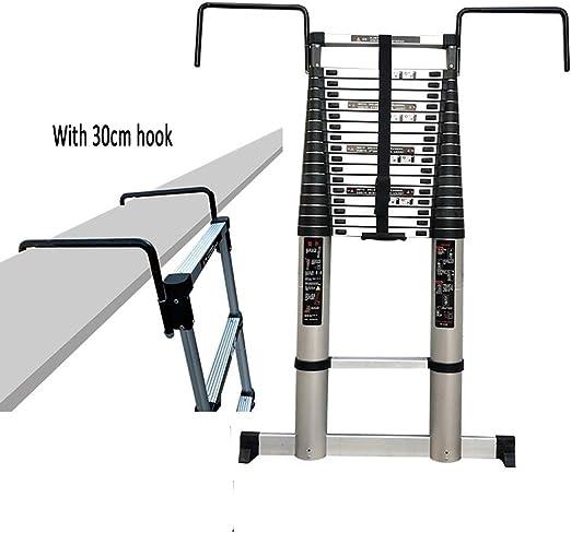 XEWNEG Escalera Telescópica De Aluminio, con Gancho De 30 Cm Y Barra De Equilibrio, Escaleras Multifuncionales De Extensión Al Aire Libre Plegables De Tipo Loft Ligero (Size : 5.0M(16.4FT)): Amazon.es: Hogar