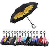 AWEOODS Inverted Umbrella Windproof Reverse Folding Double Layer Travel Umbrella with C Shape Handle, Yellow Purpurea