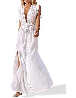 ee57b4185b5 Omerker Women s Cover Up V Neck Bathing Suit Swimsuit Cover Ups Long Maxi Beach  Dress